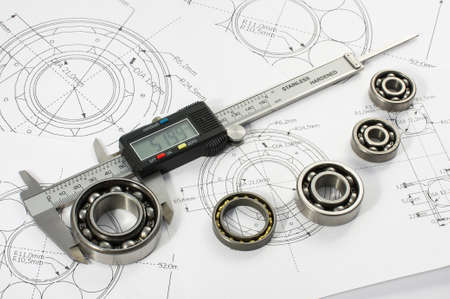 Photo pour Bearing and caliper on the mechanical engineering drawing - image libre de droit