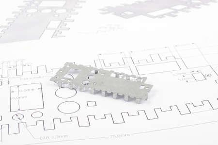 Foto per Sheet metal prototype design on the drawings - Immagine Royalty Free