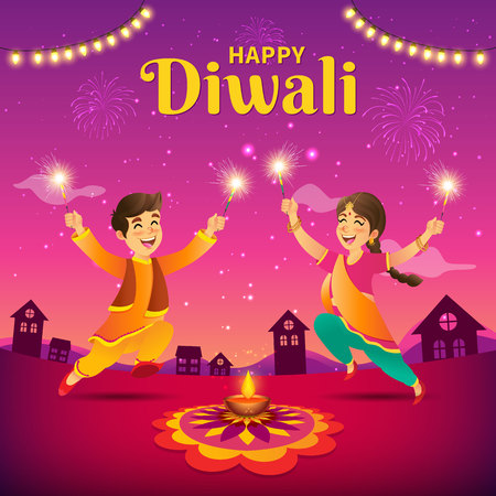 Illustration pour Cute cartoon indian kids in traditional clothes jumping and playing with firecracker celebrating  the festival of lights Diwali or Deepavali on sky background. - image libre de droit
