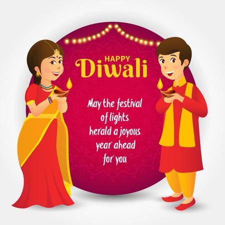 Ilustración de Cute cartoon indian kids in traditional clothes holding diya (oil lamp) with template text celebrating the festival of lights Diwali or Deepavali - Imagen libre de derechos