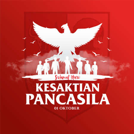 Illustration pour Indonesian Holiday Pancasila Day Illustration.Translation: October 01, Happy Pancasila day. Suitable for greeting card, poster and banner - image libre de droit
