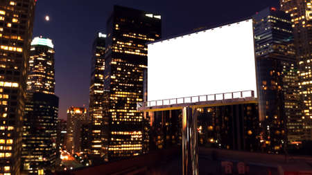 illustration of billboard in twilight with night city