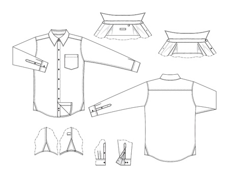 Vector illustration of front and back views of mens classic shirt and details