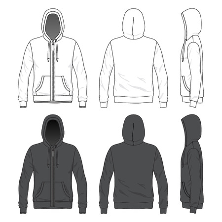 Illustration pour Blank MenBlank Men s hoodie with zipper in front, back and side views - image libre de droit