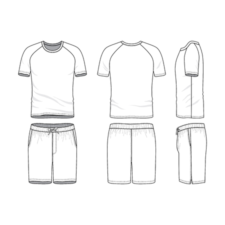 A Vector Templates Of Clothing Set Front Back Side Views Of Blank T Shirt With Raglan Sleeves And Shorts Sportswear Uniform Clothes Fashion Illustration Line Art Design Tasmeemme Com