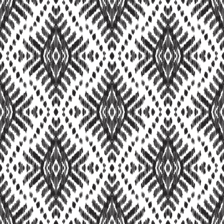 Illustration pour Ethnic seamless pattern. Boho ikat ornament. Can be used for textile, wallpaper, wrapping paper, greeting card background, phone case print. Black and white vector illustration. Tribal graphic design. - image libre de droit
