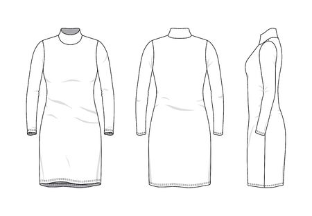 Illustration pour Blank clothing templates of women rollneck long dress in front, side, back views. Vector illustration isolated on white background. Technical fashion drawing set. - image libre de droit