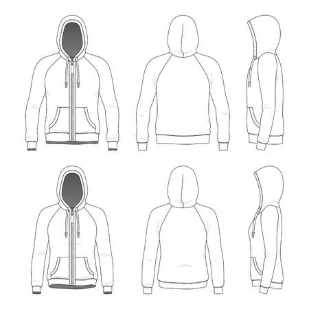 Illustration for Clothing set of raglan hoodie. - Royalty Free Image