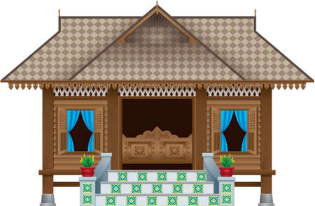 Illustration pour A beautiful traditional wooden Malay style village house. scene. Isolated. - image libre de droit