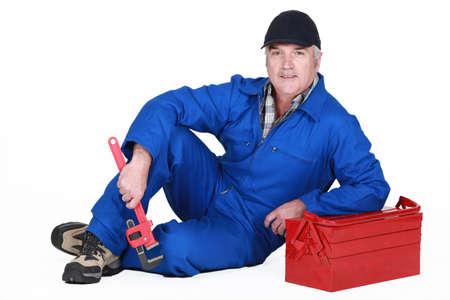 Photo pour A mature plumber - image libre de droit