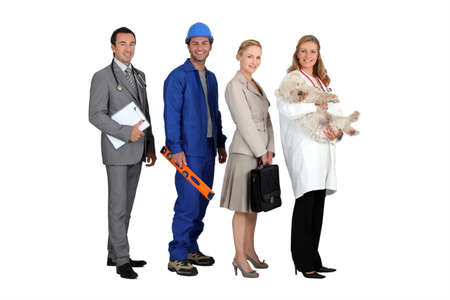 Four people from different professions