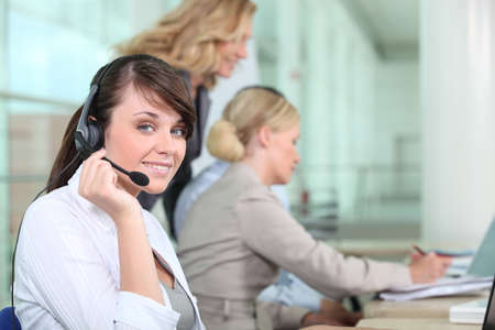 Women working in a call center