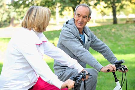 Senior couple on a bike ride