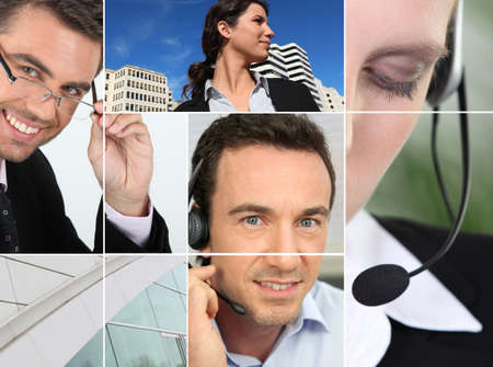 a manager, a city view and people at phone