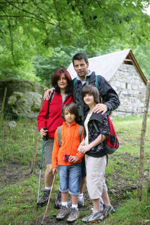 Family on hiking holiday