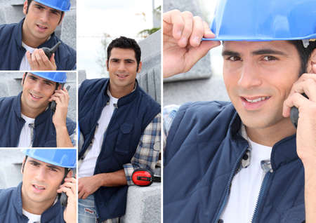 Montage of a construction worker with a walkie talkie