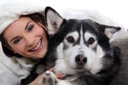 Brunette girl with dog