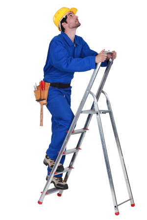 Worker on a stepladder