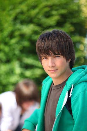 Portrait of teenager wearing hoodie