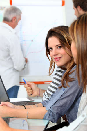 Young woman in sales training