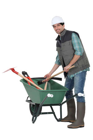 Laborer with wheelbarrow