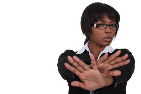 Businesswoman saying no