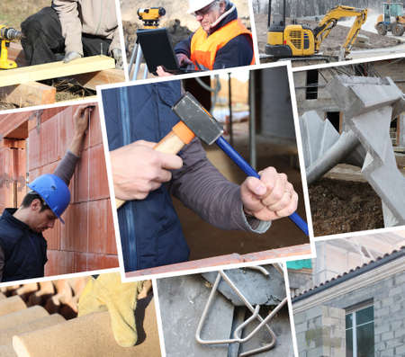 Photo pour Collage showing construction work - image libre de droit