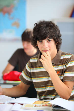 Teenage student in a classroom