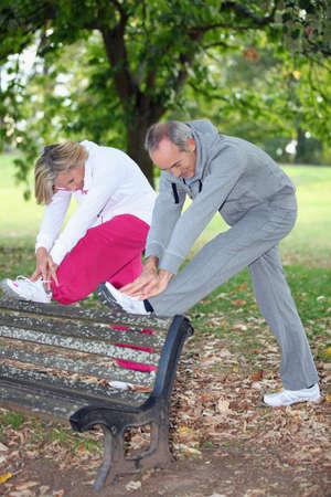 Senior people doing gymnastics