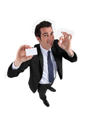 Man teaching card