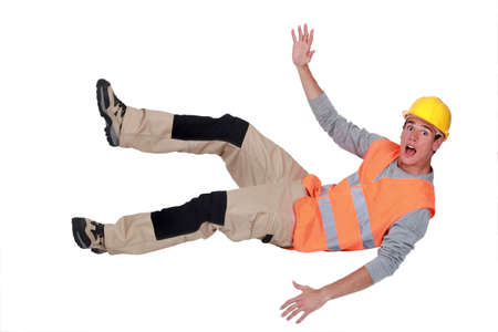 Builder falling through the air