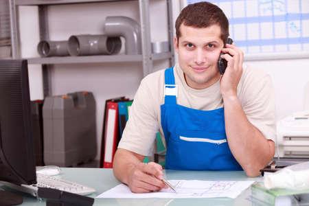 Plumbers merchant on the telephone