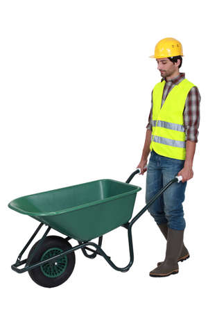 bricklayer and wheelbarrow