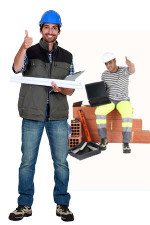 Photo for Thumbs up from a construction team - Royalty Free Image