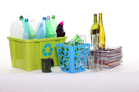 Recycling bottles and magazines