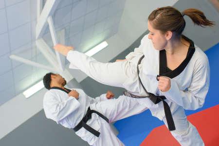 Action shot of martial art match