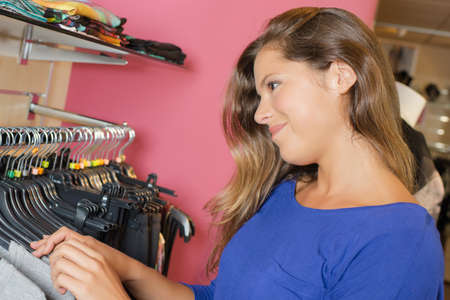 Woman trying out retail therapy