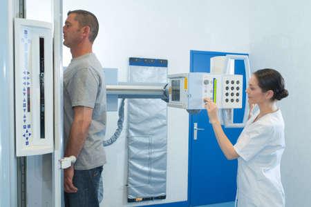 Patient stood upright having xray