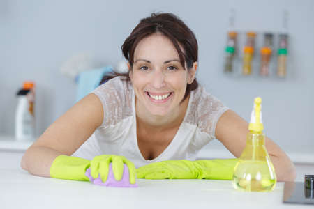 Photo pour pretty housewife finished cleaning the kitchen - image libre de droit