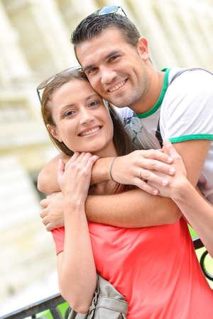 Photo pour a couple are hugging outdoors - image libre de droit