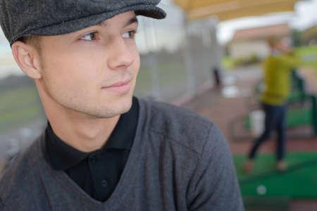Photo pour a confident young male golfer - image libre de droit