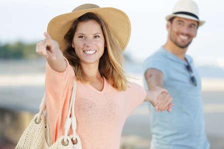 Photo pour Portrait of a man and woman outdoors - image libre de droit