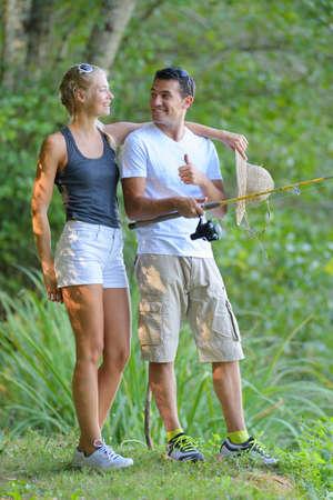Photo pour people are standing while fishing - image libre de droit