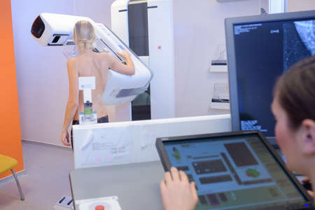 Photo for woman in hospital for mammography scan - Royalty Free Image