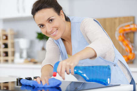 Photo pour beautiful housekeeper cleaning the kitchen - image libre de droit