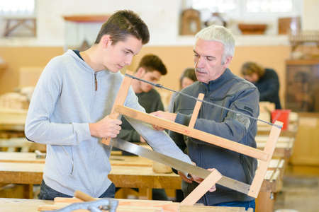 Photo pour the students in woodwork class - image libre de droit