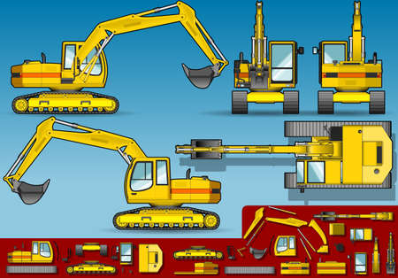 yellow excavator  in five orthogonal position.
