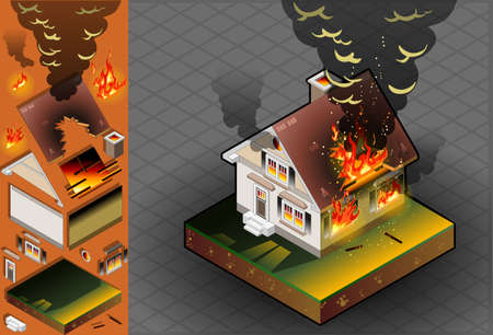 isometric House on fire