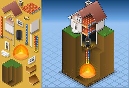 geothermal heat pump underfloorheating diagram