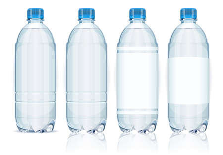 Four plastic bottles with labels